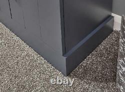Ardoise Bleue Large Buffet 3 Portes 2 Tiroir Rangement Metal Cup Poignées Chêne Top