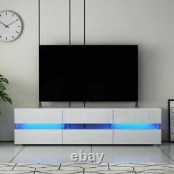 Armoire Blanche D'unité De Tv De Stockage Stand Haut Tiroir De Porte Brillant Led Lumière 177cm