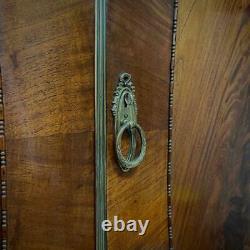 Attractive Large Antique Mahogany Bow Avant Double Door Wardrobe, Base Tiroir