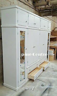 Aylesbury (blanc) 4 Tiroirs 6 Portes + Boîte Supérieure Grande Armoire