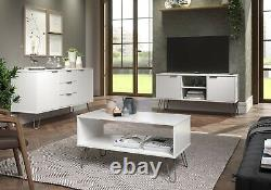 Buffet Blanc 3 Tiroirs 2 Portes Unité Tv Table Basse Meubles De Salon