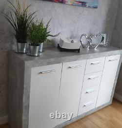 Buffet De Rangement Gris Moderne Cabinet Blanc Look Béton Unité Grand Tiroir De Porte