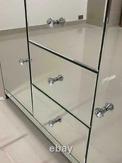 Buffet Miroir Grands Tiroirs Modernes Miroir 4 Portes Vénitien En Verre Armoire