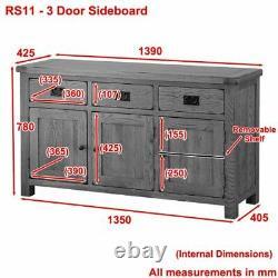 Chêne Rustique Grande 3 Portes Buffet Triple Dresser 3 Tiroirs Rs11