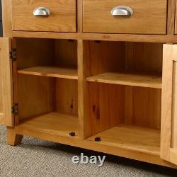 Cheshire Oak Large 3 Tiroir 3 Porte Sideboard Long Wide Triple Cupboards Ad37