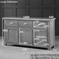 Cheshire Oak Large 3 Tiroir 3 Porte Sideboard-ex-display- Ad37-f321