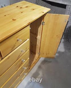 Dewsbury Pine Solide Antique Grande Poitrine De Tiroirs Avec Assemblage De Porte