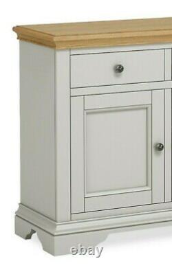 Eton Soft Grey & Oak Large Sideboard / 3 Portes 3 Placard À Tiroirs / Armoire