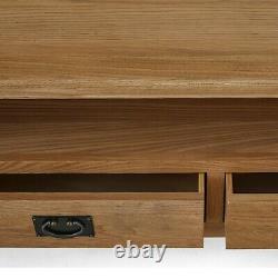 Extra Large Tv Stand Unit Cabinet Rustic Oak 2 Tiroir De Porte Zelah Bois Massif