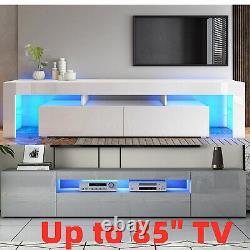 Grand 200cm Tv Unit Buffet D'armoire High Gloss 3 Portes Tiroir Long Et Lumière Led
