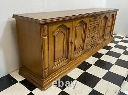 Grand 2,4 M Vintage Chêne Allemand Quatre Portes Quatre Tiroirs Buffet Commode Armoire