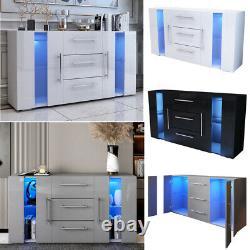Grand Buffet Mdf High Gloss 2 Portes Et 3 Tiroirs Tv Stand Rgb Led Cabinet Unit