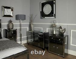 Grand Miroir Noir Arctique Garniture 2 Tiroir 2 Armoire De Rangement Sideboard De L'armoire De Rangement