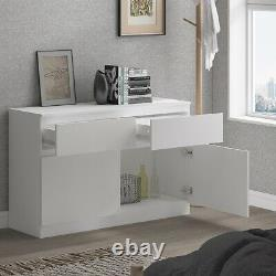 Grand Moderne Blanc 2 Portes 2 Tiroirs Buffet De Rangement Maison Meubles De Salon