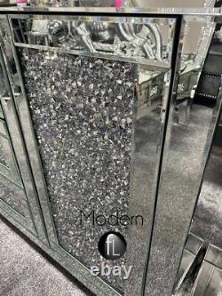 Grand Tiroir Contemporain 3 Tiroirs 2 Porte Bord De Diamant Concassé, Unité Scintillante De Paillettes