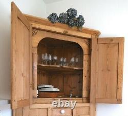 Grand Vieux Pin Victorian Corner Armoire Larder Farmhouse Cabinet 1 Vente De Semaine
