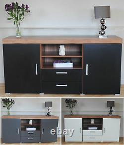 Grande 2 Porte 2 Tiroir Buffet Black White Grey Armoire Tv Cabinet De Meubles