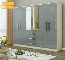 Grande Armoire Miroir 6 Portes High Gloss, 3 Tiroirs, Black/white/grey