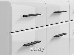 Grande Armoire Sideboard High Gloss White Doors Tiroirs Noirs Accents New Fever