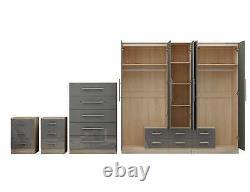 Grande Chambre À Coucher De 5 Portes, Armoire, Coffre, 2 X Tiroir De Chevet, Grand Gloss High