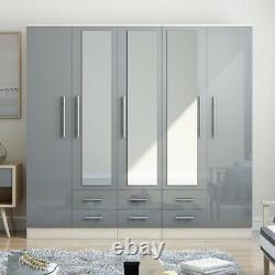 Grande Garde-robe 5 Portes Miroir High Gloss Grey Fitment, 6 Tiroirs, Livraison Gratuite
