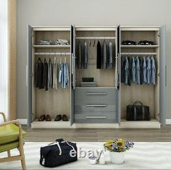 Grande Garde-robe 6 Portes En Miroir High Gloss Grey Fitment, 3 Tiroirs, Livraison Gratuite