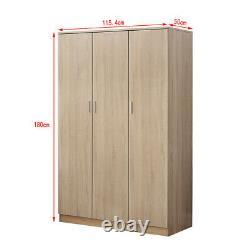Grande Garde-robe Blanche/noire/chêne 3 Portes 3 Tiroir Armoire Chambre À Coucher Storage Unit Uk