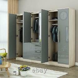 Grande Garde-robe Miroir Brillant Haute De 6 Portes Gris, - 3 Tiroirs