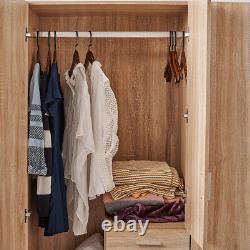Grande Moderne 3 Portes 3 Tiroirs Armoire Oak Maison Chambre Unité De Rangement Royaume-uni
