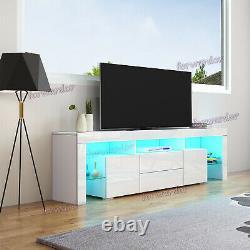 Grande Unité Tv Cabinet 200 CM Width Tiroirs Haute Brillance Portes Tv Stand + Lumière Led