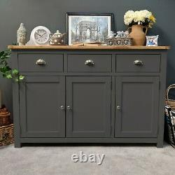 Grey Oak Large Sideboard Dark Painted 3 Porte 3 Armoire À Tiroirs Neuve / Porton