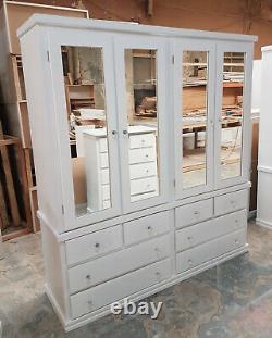 Handmade Dewsbury Blanc Grand Quadruple Armoire Miroir 4 Porte 8 Tiroir Assemblé