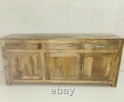 Mango Hardwood Large Sideboard3 Portes D'armoire, 4 Étagères Et 3 Tiroirs Sur Le Dessus
