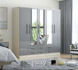 Moderne 5 Portes Grande Fitment Miroir Garde-robe En Gris Brillant Élevé Avec 6 Tiroirs