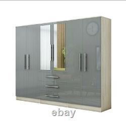 Moderne 6 Portes Grande Fitment Miroir Garde-robe En Gris Brillant Élevé, 3 Tiroirs