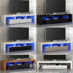 Moderne Grand 2 Tiroirs Tv Unit Stand Cabinet High Gloss Door Matt Body Led Light