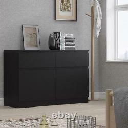 Moderne Scandinave Matt Black Buffet Unité De Rangement 2 Porte 2 Tiroir Grand