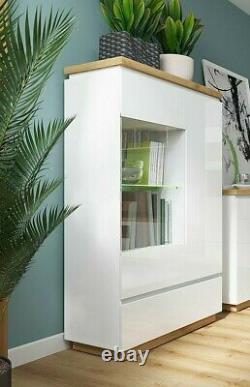 Moderne White Gloss & Oak Grand Affichage De Verre Cabinet Led Unité De Buffet Léger Erla