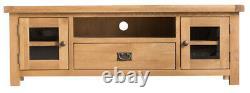 Montreal Chêne Grande 2 Portes 1 Tiroir Émaillé Tv Cabinet / Solid Wood Media Cabinet