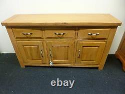 Nouveau Grand Contemporain Chunky Oak 3 Porte 3 Tiroir Sideboard Morris Furniture