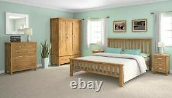 Oak Large Wardrobe / 3 Portes Triple Avec Tiroirs / Rangement Moderne Chambre Solide