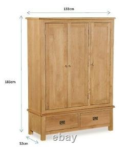 Oak Large Wide Wardrobe / 3 Portes Triple Tiroirs / Rustic Oak Bedroom Furniture