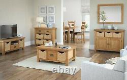 Oakvale Extra Grand Buffet / Bois Massif 4 Tiroirs 4 Armoire De Rangement Côté Porte