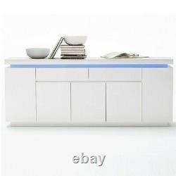 Odessa Large Sideboard 2 Tiroir 5 Porte Brillant Blanc Avec Led