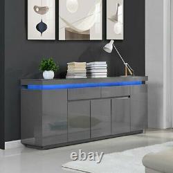 Odessa Large Sideboard 2 Tiroir 5 Porte Gloss Grey Avec Led