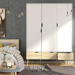 Oslo Large Retro Scandinavian Style Wardrobe 3 Portes 3 Tiroirs Blanc & Chêne
