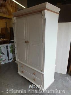 Regency Peint Large 4' Wide 2 Door 2 Armoire À Tiroirs- Chêne Massif Top- Sur Mesure