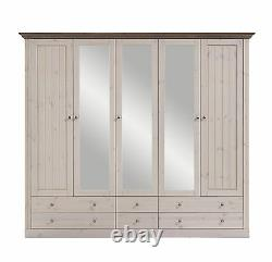 Riva White & Stone Painted Extra Large Glazed 5 Door 6 Tiroir Garde-robe