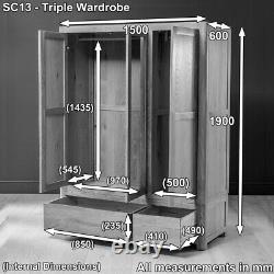 Soho Chêne 3 Porte Triple Armoire Avec Miroir Grand 2 Tiroir Robe Suspendue Sc13