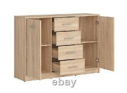 Sonoma Moderne Oak Effet Grande Armoire De Rangement Latérale 2 Portes 4 Tiroirs Nepo